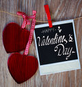 Instant photo and two  hearts Royalty Free Stock Photo