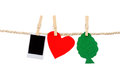 Instant photographs and heart tree shapes hanging Royalty Free Stock Photo