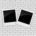 Instant Photos on Grunge Brick Background Vector Illustration Royalty Free Stock Photo
