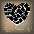 Instant photos in heart shape. Vector illustration Stock Images