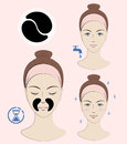 Instruction: How to apply nasolabial cosmetic patches. Skincare. Vector illustration.