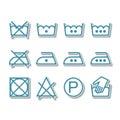 Instruction laundry, dry cleaning, care icons, washing symbols Royalty Free Stock Photo