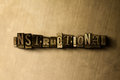INSTRUCTIONAL - close-up of grungy vintage typeset word on metal backdrop Royalty Free Stock Photo