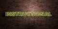 INSTRUCTIONAL - fluorescent Neon tube Sign on brickwork - Front view - 3D rendered royalty free stock picture Royalty Free Stock Photo