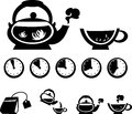 Instructions for making tea vector icons isolated items on white Stock Image