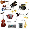 Instruments illustration of musical with white background Stock Photos