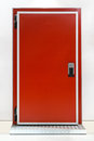 Insulated red door at industrial refridgerator reefer Royalty Free Stock Photo