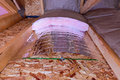 Insulation stages of attic insulatin with fiberglass cold barrier and reflective heat barrier used as baffle between the joists Stock Photography