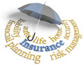 Insurance agency umbrella risk planning services symbol of comprehensive coverage for home auto life and other risks Stock Photo