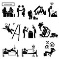 Insurance agent coverage medical accident a set of pictograms representing the type of by company Royalty Free Stock Image