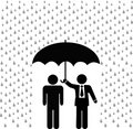 Insurance agent umbrella over insured person Stock Photography