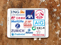 Insurance companies logos and icons Royalty Free Stock Photo