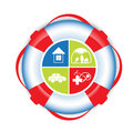 Insurance help theme with lifebuoy and house health care family car icons Stock Image