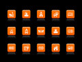 Insurance icons orange Royalty Free Stock Photo