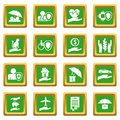 Insurance icons set green