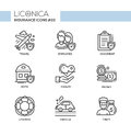 Insurance - monochromatic modern single line icons set