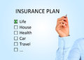 Insurance plan hand is writing Stock Image