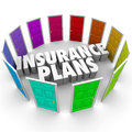 Insurance plans many options health care choices doors words in the middle of colored illustrating the several confusing for you Royalty Free Stock Photography