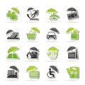 Insurance risk and business icons vector icon set Royalty Free Stock Images