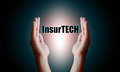 Insurance technology Insurtech concept, Human hand holding and