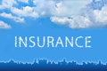 Insurance text on cloud with blue sky Royalty Free Stock Images