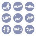 Insurances type and accident icon set pictogram for presentation business concept background in