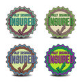 Insured badges set of four with the text on a white background Royalty Free Stock Photos
