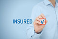 Insured client is insurance agent tick checkbox with text Royalty Free Stock Image
