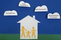 Insured happy family of three paper cutout figures with insurance themed clouds Stock Photos