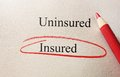 Insured red circle text circled with uninsured text and pencil on textured paper Stock Photography