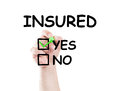 Insured text and checkboxes yes and no insurance concept made on transparent wipe board with a marker Stock Image