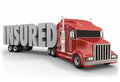 Insured truck trailer d word insurance coverage on a red to illustrate for drivers and load being hauled Royalty Free Stock Photography