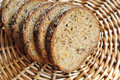 Integral bread sliced integral on a wicker tray Royalty Free Stock Image