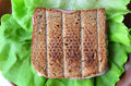 Integral toast ham and cheese sandwich with sesame other whole seeds served on a brown porcelain plate over fresh lettuce leaf Royalty Free Stock Photo