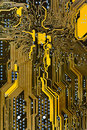 Integrated circuit board background close up Royalty Free Stock Photography