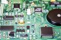 Integrated circuit board of a hard disk computer electronics macro photo repairing concept data saving concept blur background Stock Photos