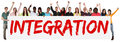 Integration group of young multi ethnic people holding banner Royalty Free Stock Photo