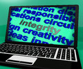 Integrity screen shows morality virtue and decency showing Royalty Free Stock Photography