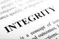 Integrity the word shot with artistic selective focus Stock Images