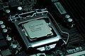 Intel CPU installed on a motherboard Royalty Free Stock Photo