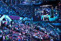Intel extreme masters katowice poland audience at iem th th march in big screen with commentators visible Stock Photo