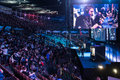 Intel extreme masters katowice poland audience at iem th th march in big screen with pro players visible Royalty Free Stock Photography