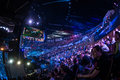 Intel extreme masters katowice poland full audience in spodek arena at iem th th march in big screen with league of legends match Stock Images