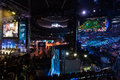 Intel extreme masters katowice poland spodek arena at iem th th march in big screens with league of legends match and counter Stock Images