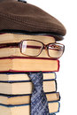 Intellectual component of the books eyeglasses a necktie Royalty Free Stock Photography