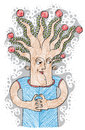 Intellectual product concept. Tree of life idea vector illustrat