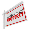 Intellectual property for sale sign advertising licensing origin words on a or real estate to illustrate original copyrighted or Royalty Free Stock Images