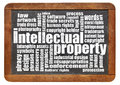 Intellectual property word cloud on an isolated vintage blackboard Royalty Free Stock Image