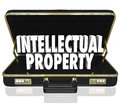 Intellectual property words briefcase business license copyright d in a black leather to illustrate a offering its copyrighted Stock Photography