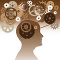 Intelligence brain head and gears in progress vector illustration Royalty Free Stock Image